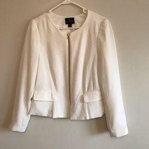 White and gold peplum style blazer